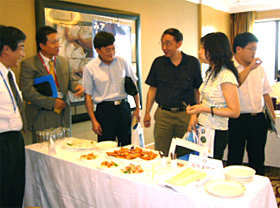 Buyers from Shanghai testing frozen food