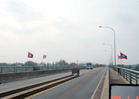 A railroad runs through the middle of the First Mekong Friendship Bridge