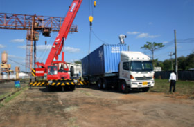 Container transshipment (in Savannakhet)