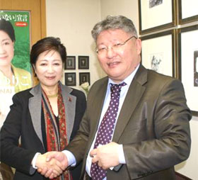 Former Minister of Defense Ms. KOIKE Yuriko and Chairman Demberel.