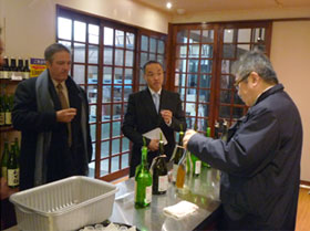 Tasting sake at Suehiro Sake Co., Ltd.