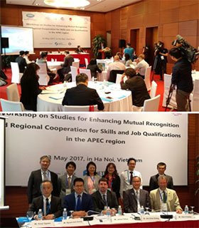 (Above) Scene of the venue(Below) Commemorative photo with seminar speakers